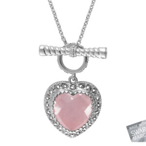 Pink Chalcedony Heart Necklace MJ18908