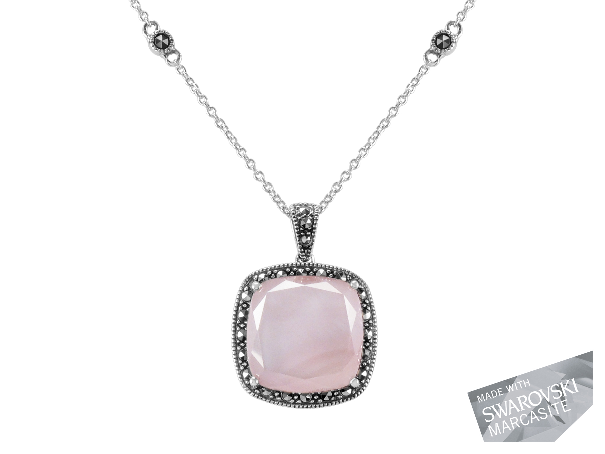 Pink Mother-of-Pearl Doublet Pendant on Chain MJ18935