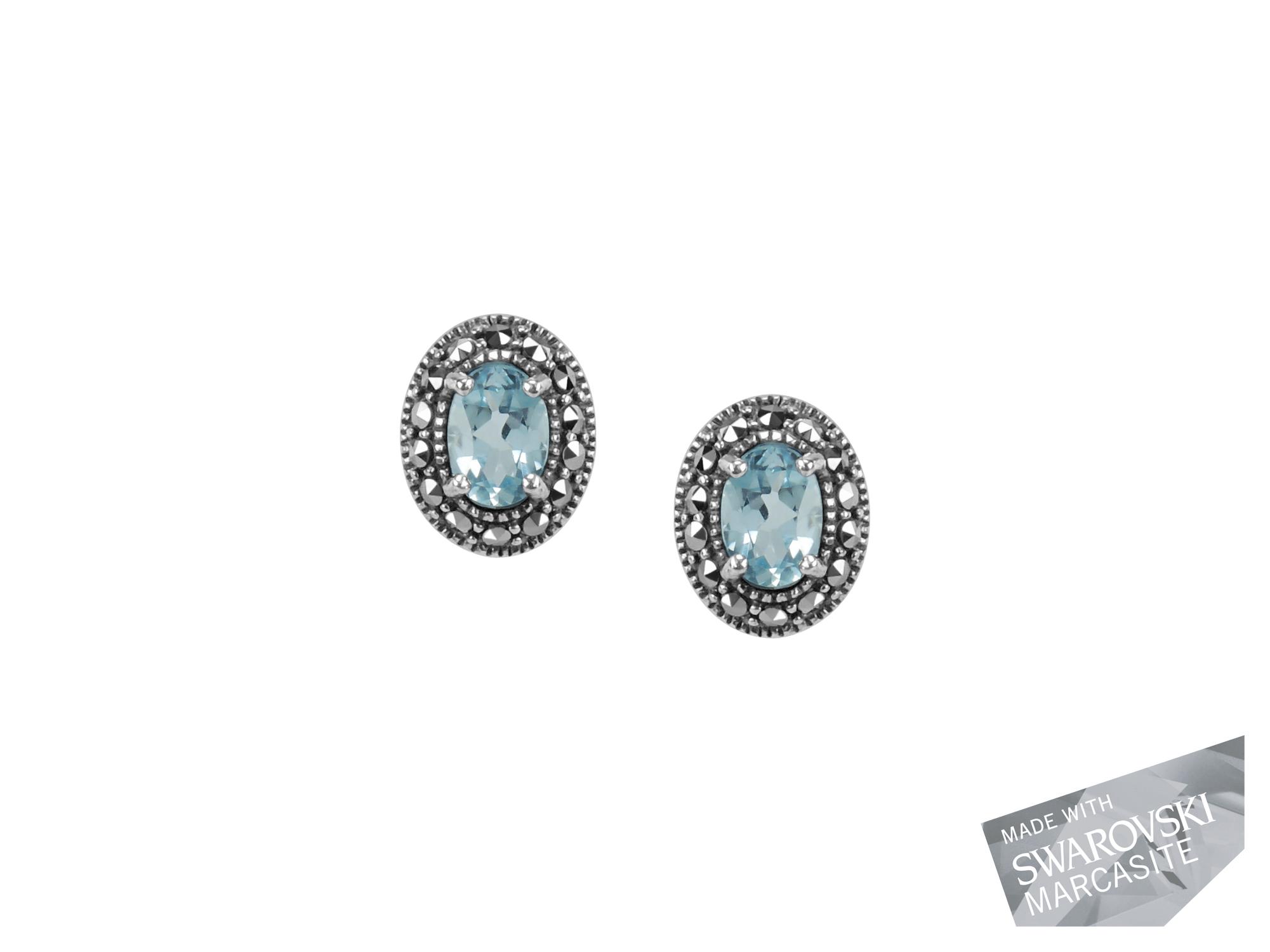 Blue Topaz Stud Earrings MJ18958