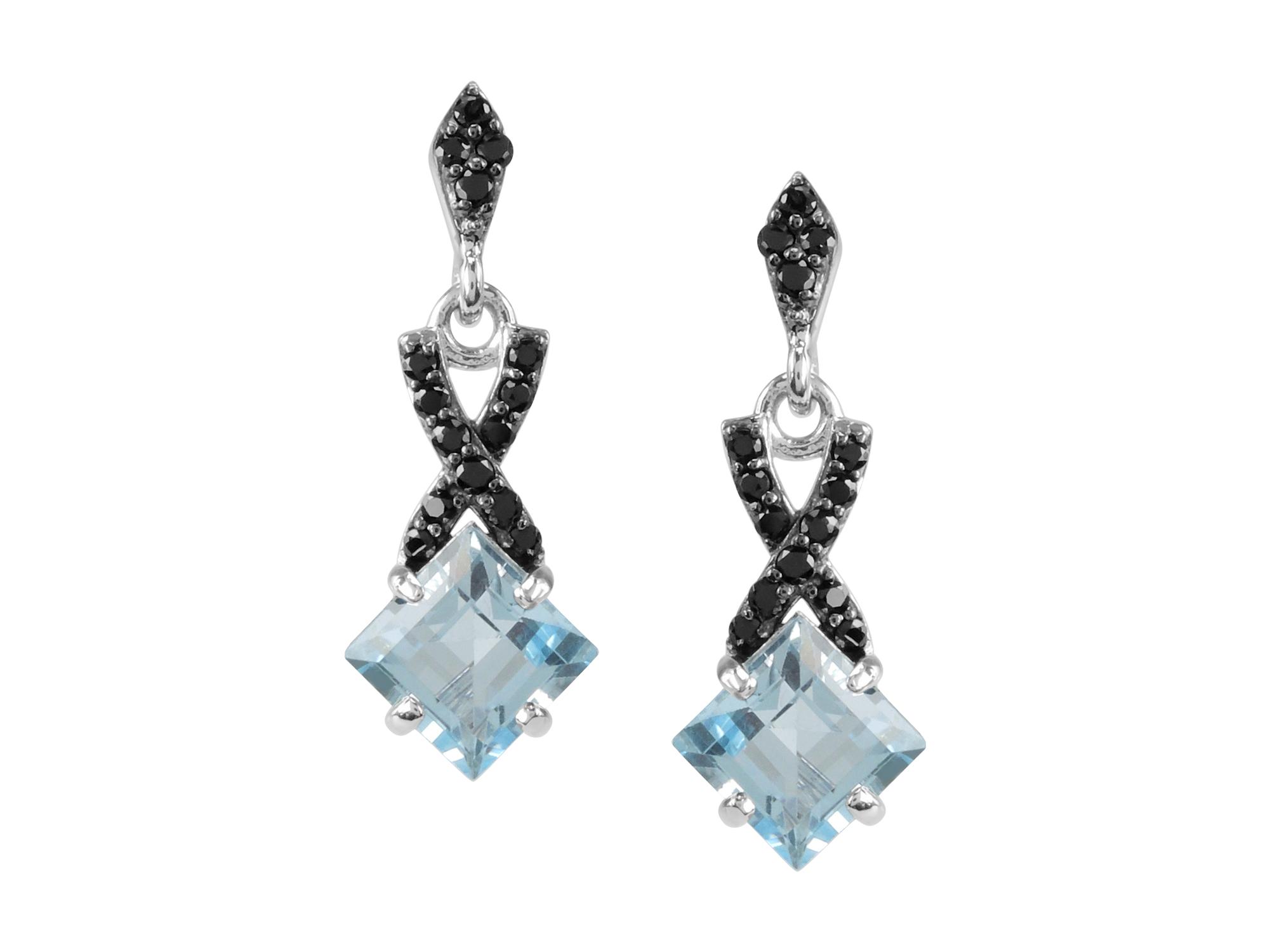 Blue Topaz & Black Spinel Earrings MJ18981