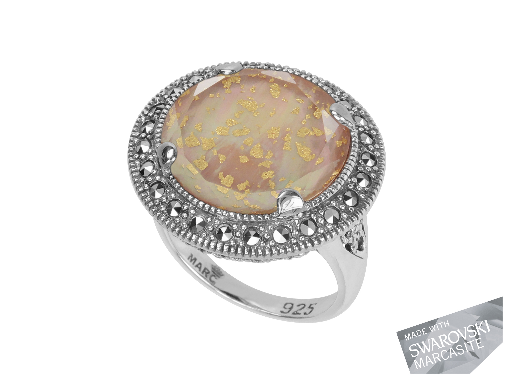Pink Mother-Of-Pearl & Gold Leaf Ring MJ19014
