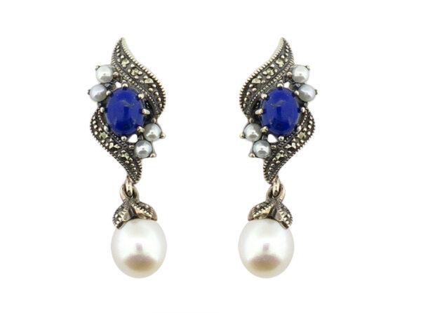 Lapis Lazuli & Pearl Earrings MJ19355