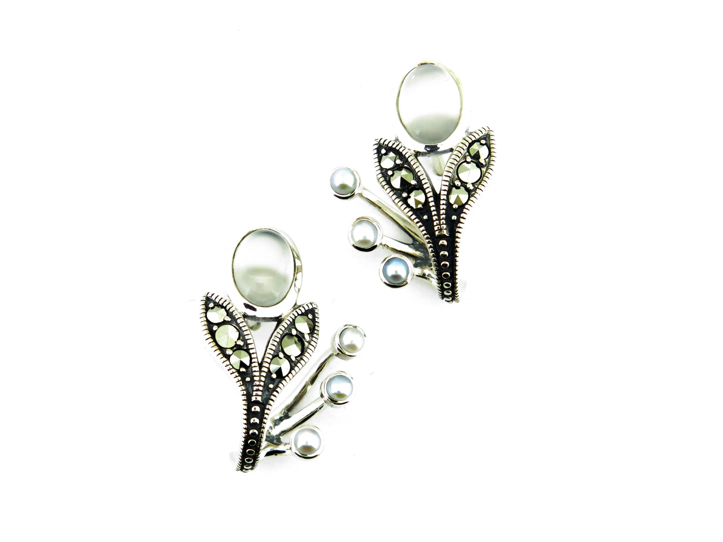 Moonstone & Seed Pearl Earrings MJ19357