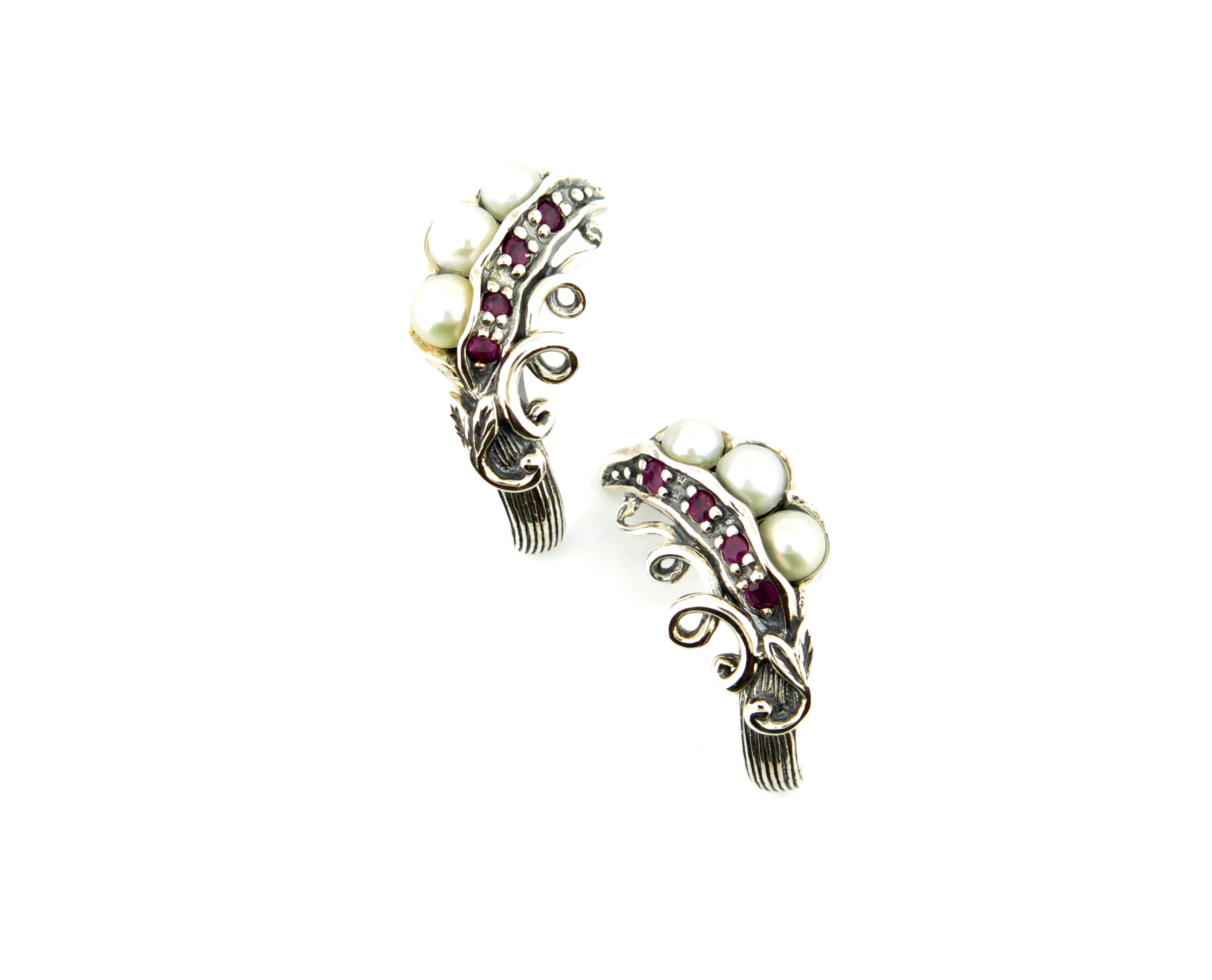 Ruby & Seed Pearl Earrings MJ19360