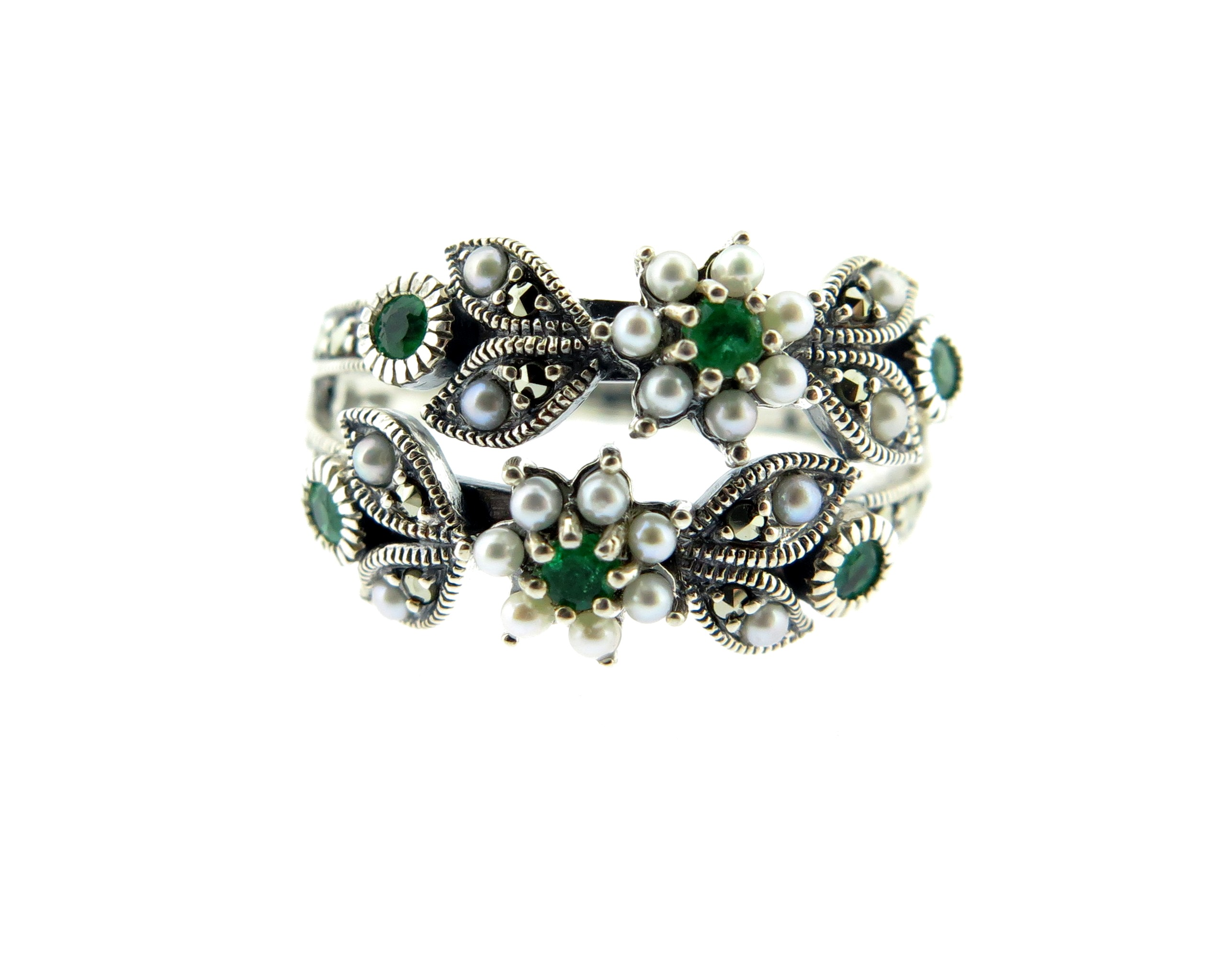 Emerald, Seed Pearl & Marcasite Ring MJ19365
