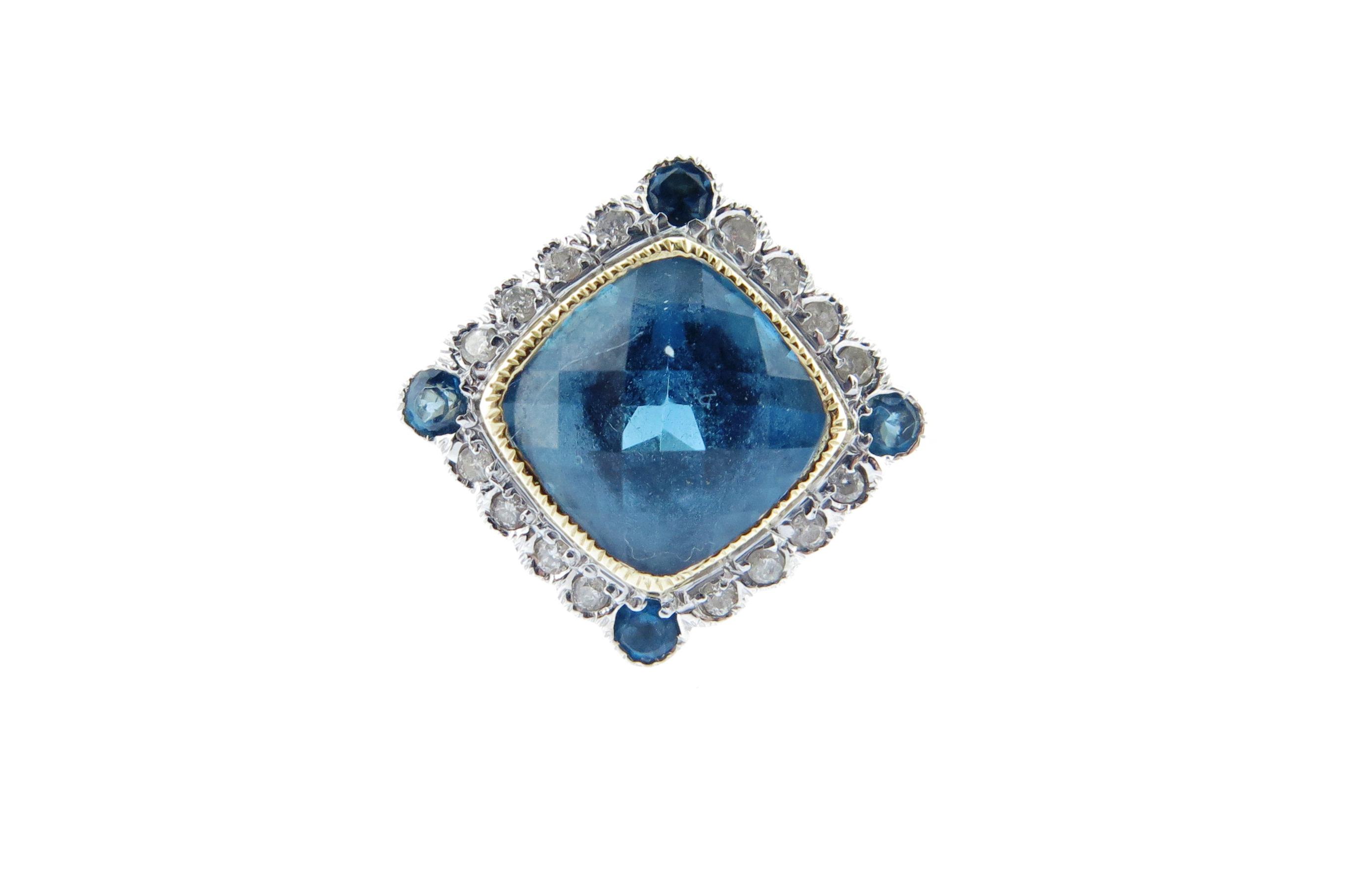 London Blue Topaz & Diamond Ring MJ19400
