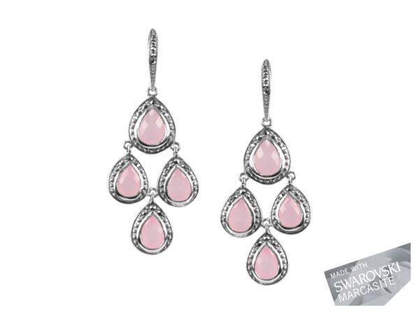 Pink Chalcedony Chandelier Earrings MJ19458