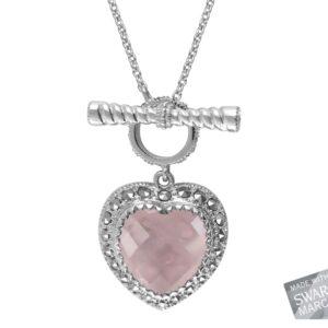 Rose Quartz Heart Necklace MJ19501