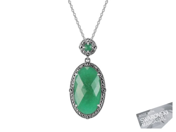 Green Chalcedony Pendant on Chain MJ19534