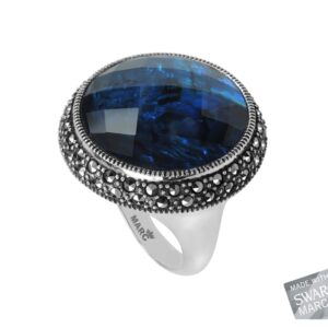 Blue Abalone Doublet Ring MJ19549