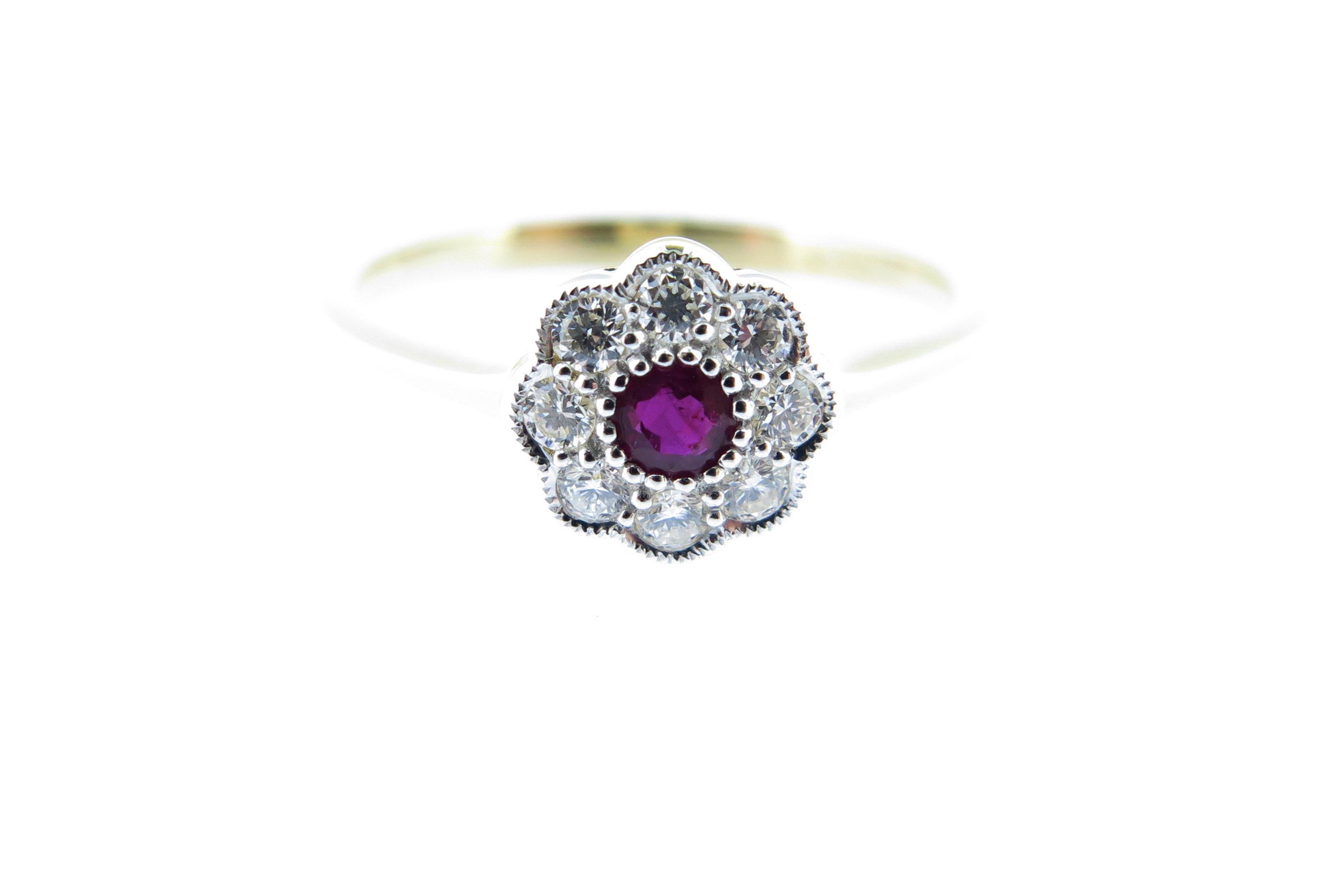 Ruby & Diamond Cluster Ring MJ19592