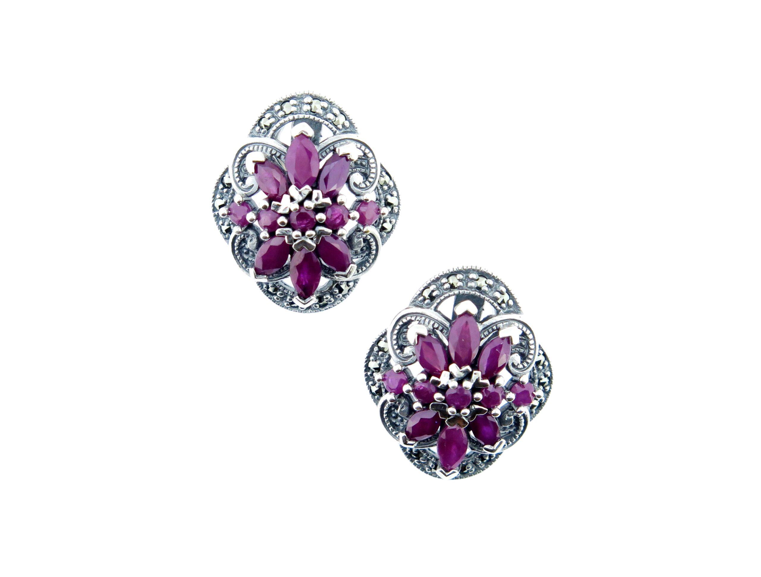 Ruby & Marcasite Earrings MJ19633