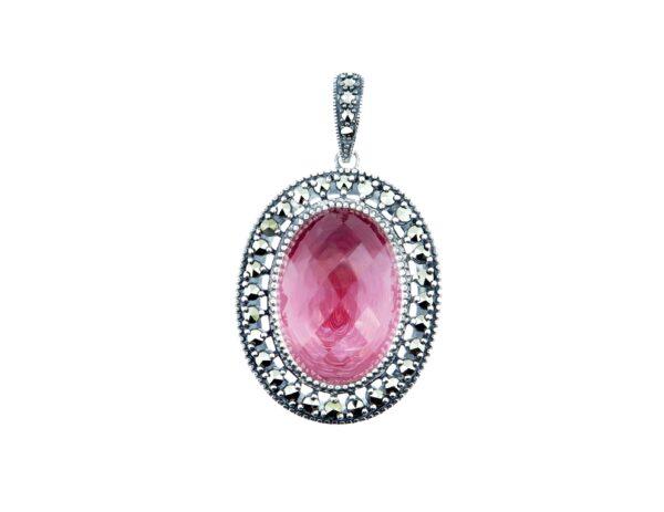 Pink Enamel & Clear Quartz Pendant MJ19681