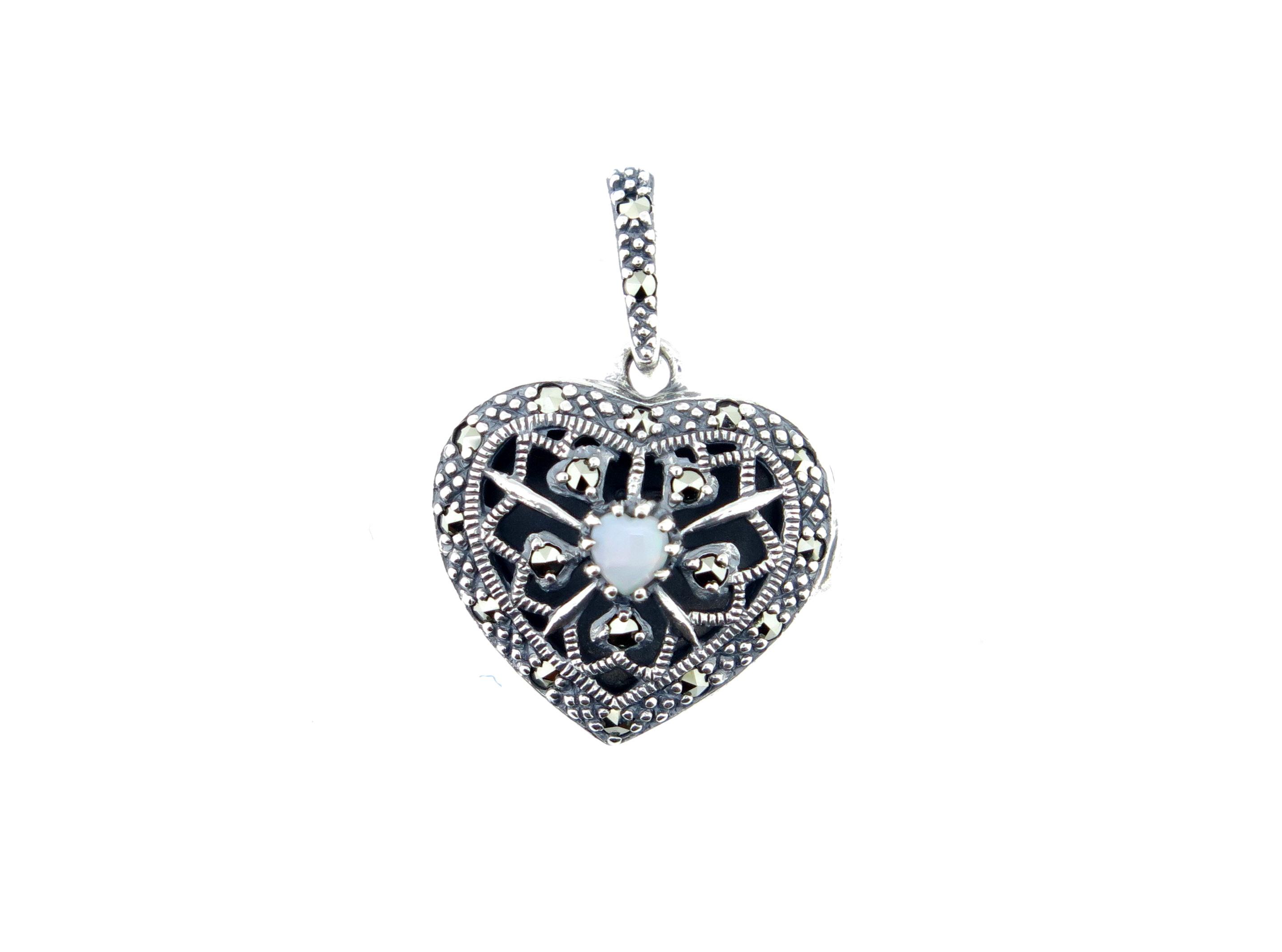 Opal Heart Locket MJ19682