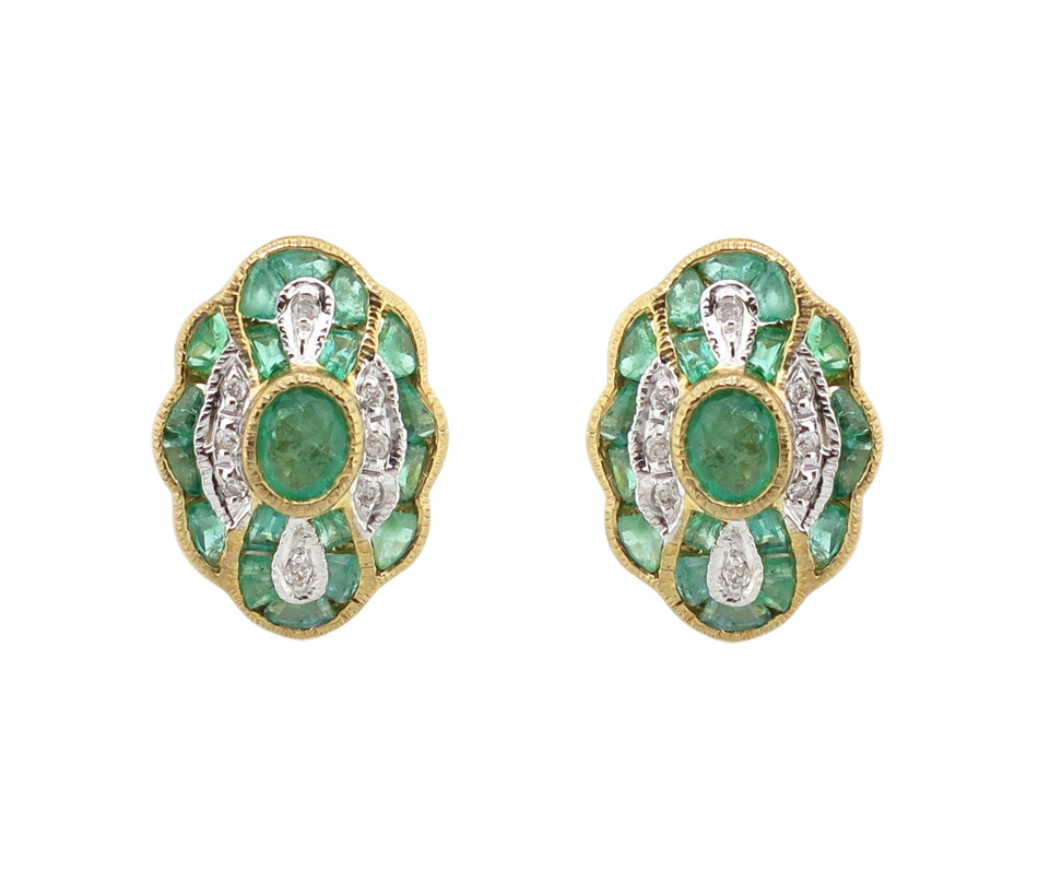 Emerald & Diamond Stud Earrings MJ19928