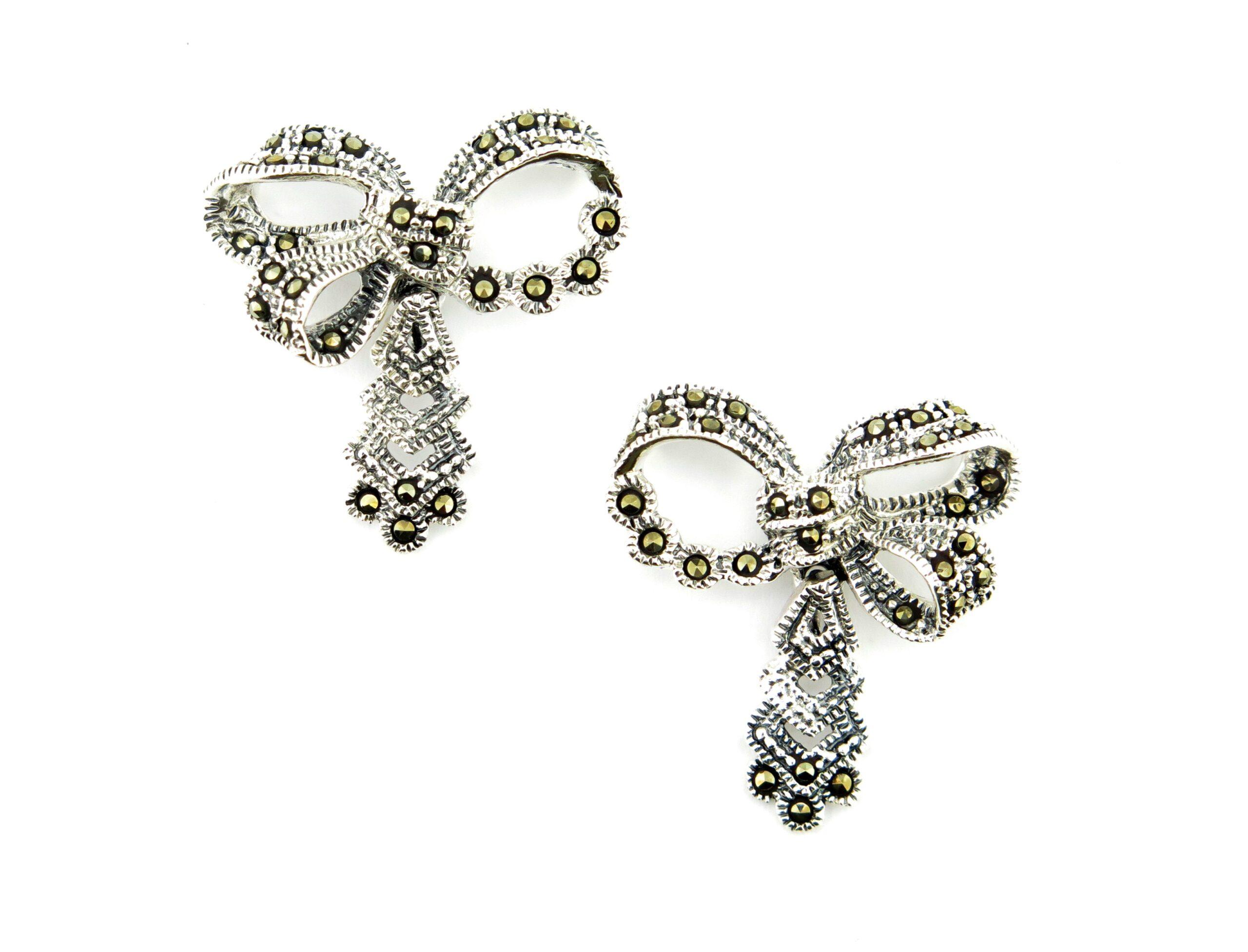 Marcasite Bow Drop Earrings MJ20035