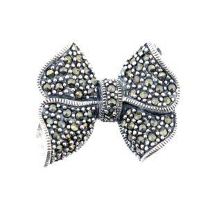 Marcasite Bow Brooch MJ20046