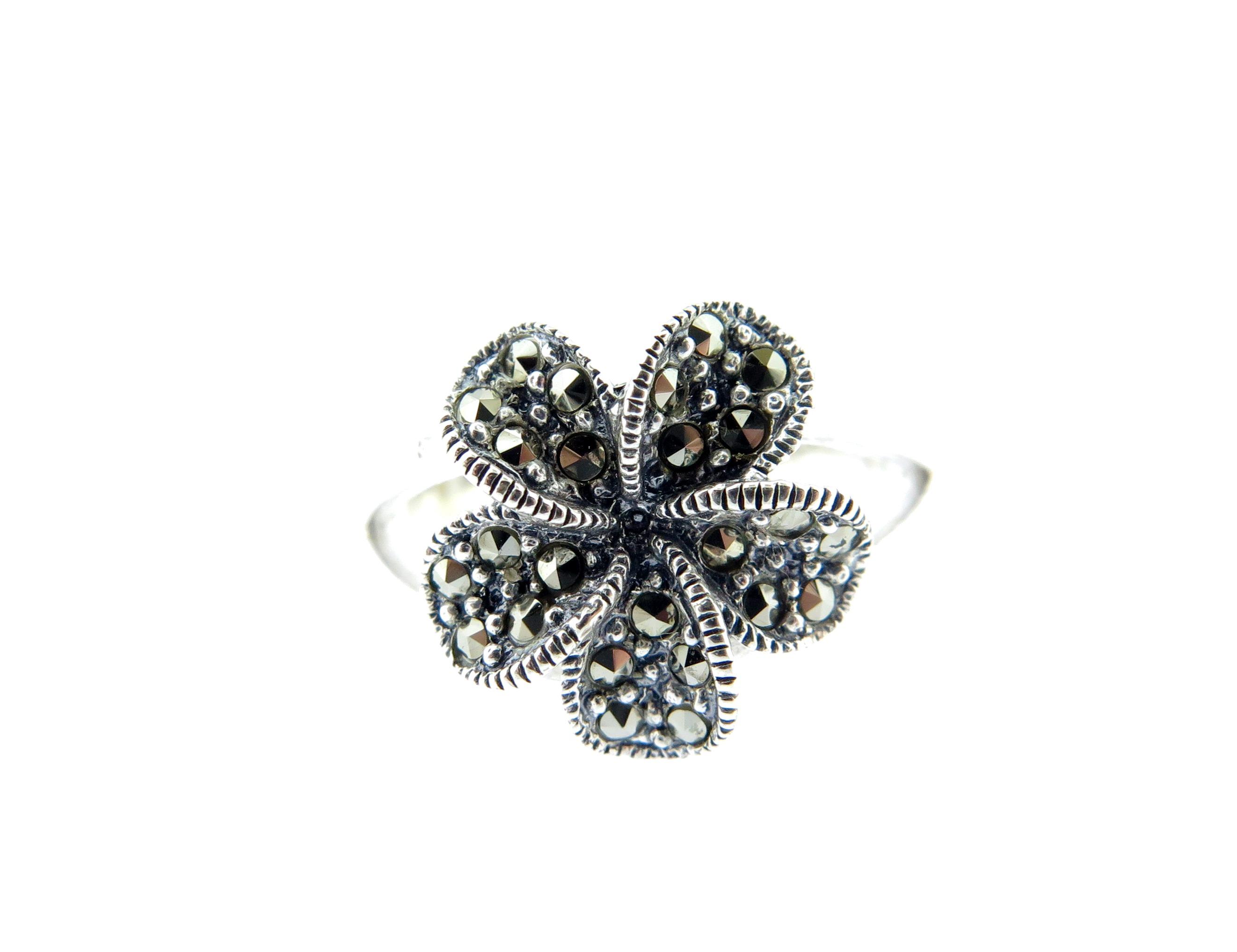Marcasite Flower Ring MJ20183