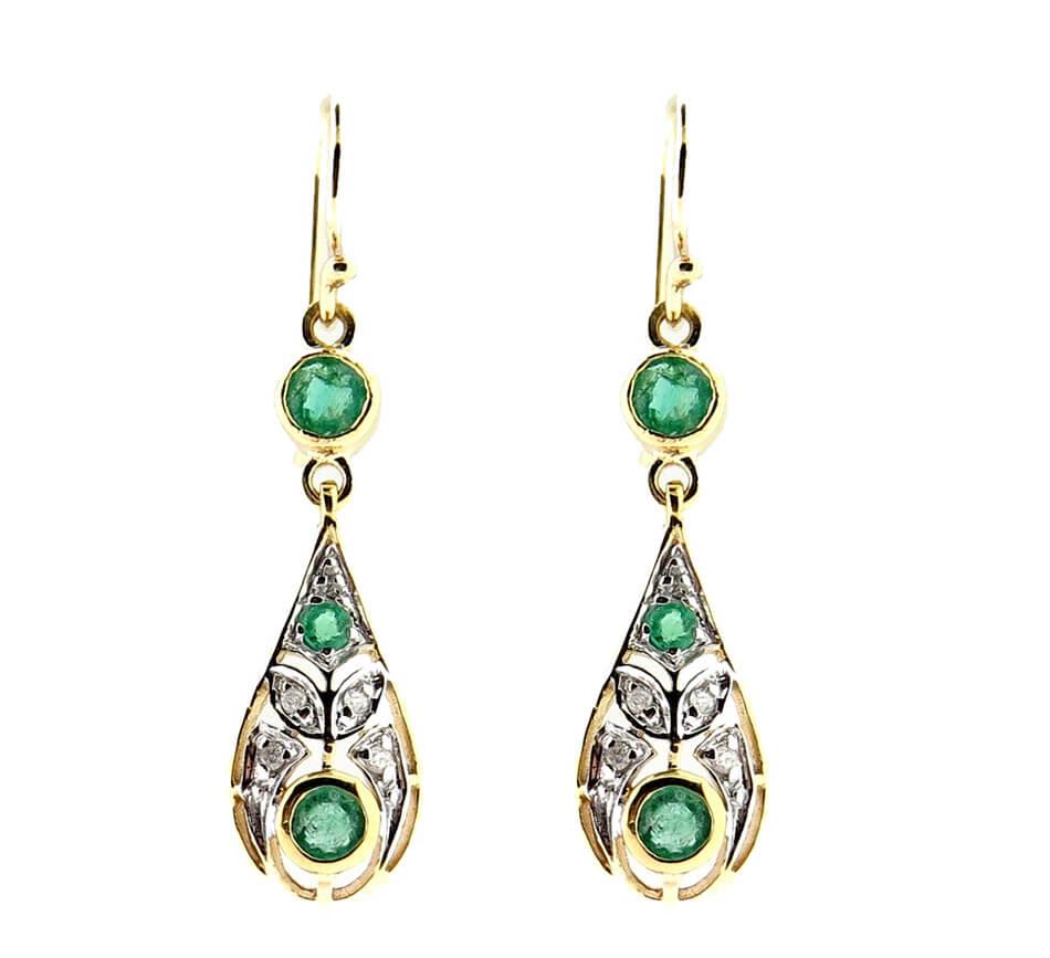Emerald & Diamond Earrings MJ20238