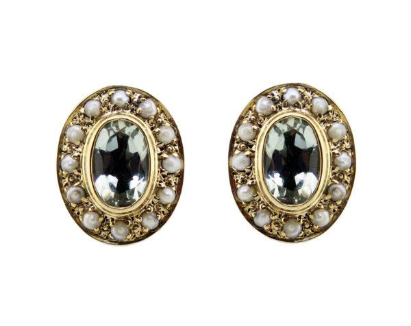 Green Amethyst & Seed Pearl Stud Earrings MJ20240