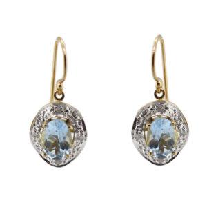 Aquamarine & Diamond Earrings MJ20245