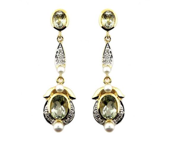Green Amethyst, Pearl & Diamond Earrings MJ20247