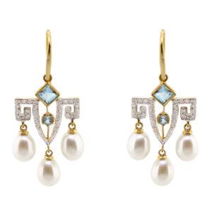 Blue Topaz & Pearl Earrings MJ20258