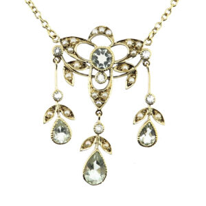 Green Amethyst & Seed Pearl Necklace MJ20261
