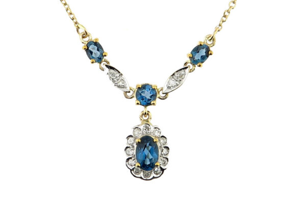 London Blue Topaz & Diamond Necklace MJ20265