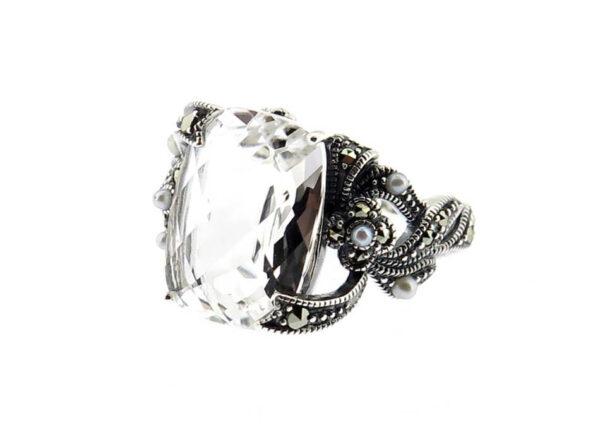 Clear Quartz & Seed Pearl Ring MJ20271