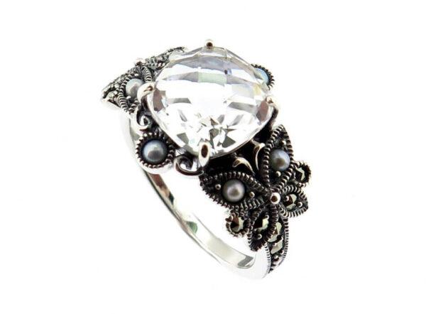 Clear Quartz & Seed Pearl Ring MJ20272