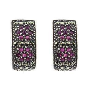 Ruby & Marcasite Earrings MJ20278