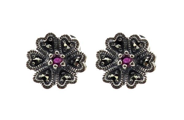 Ruby Flower Stud Earrings MJ20281