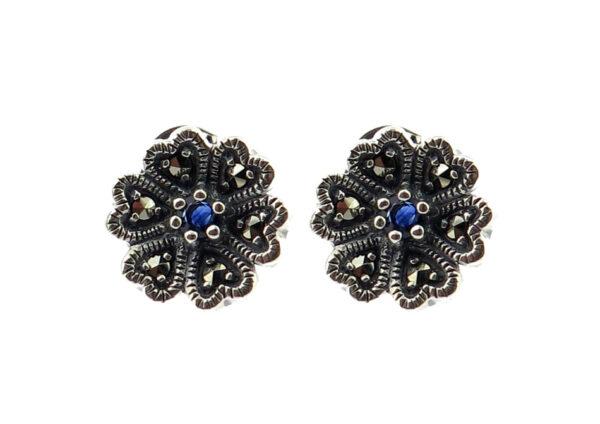 Sapphire Flower Stud Earrings MJ20283