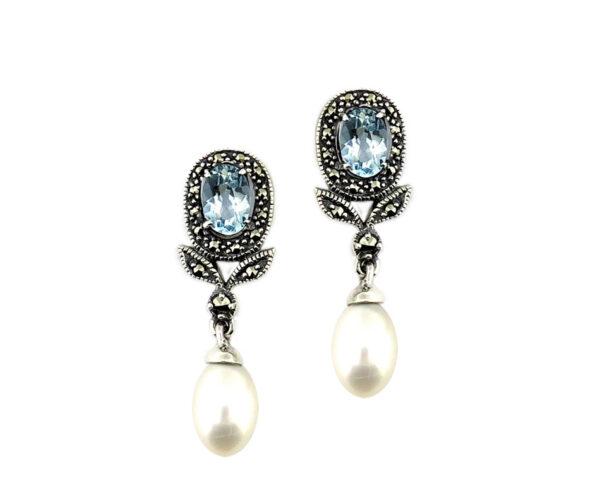 Blue Topaz & Pearl Earrings MJ20341