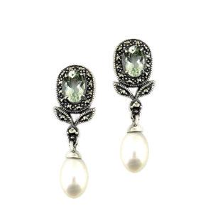 Green Amethyst & Pearl Earrings MJ20343