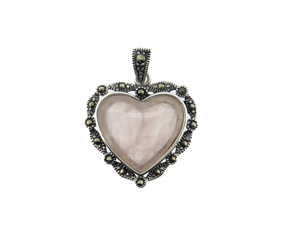 Rose Quartz Heart-Shaped Pendant MJ20588