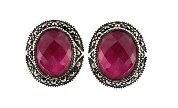 Raspberry Mother of Pearl Earring MJ20675