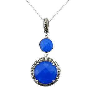 Blue Chalcedony Pendant on Chain MJ20725