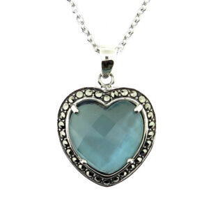 Denim Mother of Pearl Pendant on Chain MJ20730