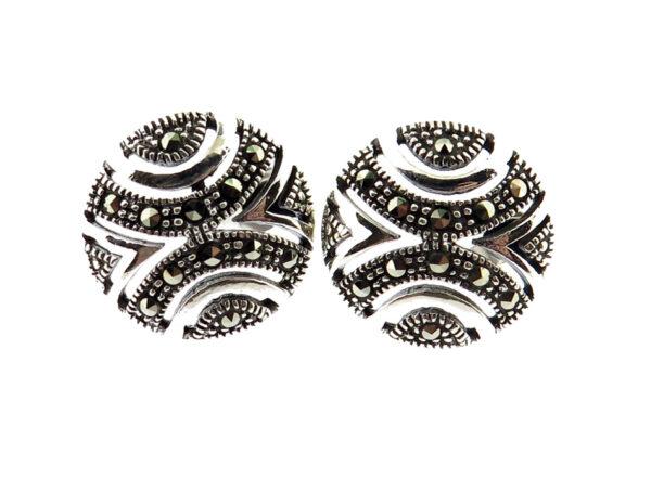 Marcasite Round Stud Earrings MJ20794