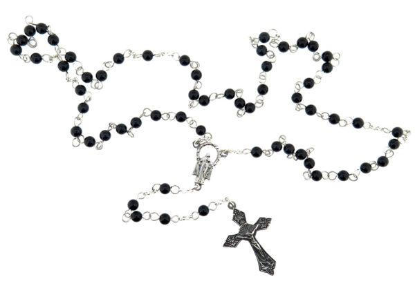 Onyx & Silver Rosary MJ21070