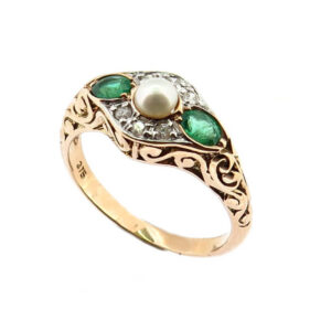 Pearl, Emerald & Diamond Ring MJ21085