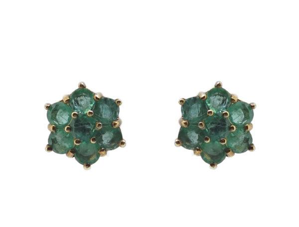 Emerald Cluster Stud Earrings MJ21520