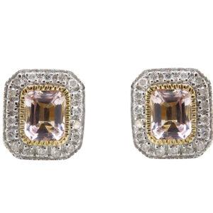 Morganite & Diamond Stud Earrings MJ21679