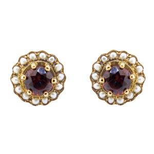 Garnet & Pearl Stud Earrings MJ21714