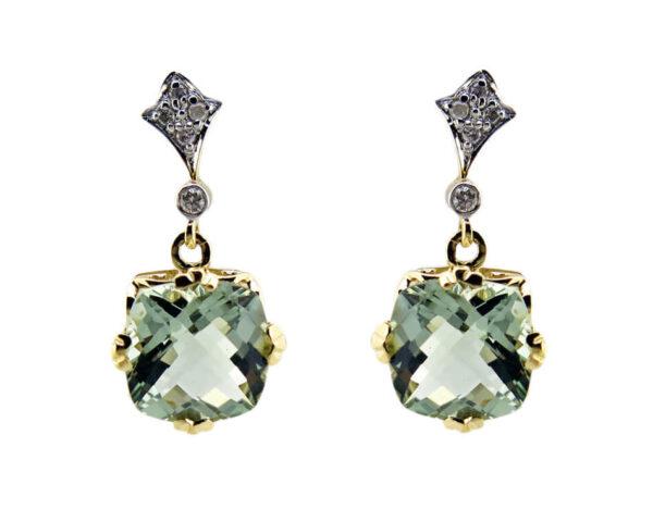 Green Amethyst & Diamond Earrings MJ22126