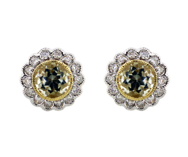 Green Amethyst & Diamond Earrings MJ22131