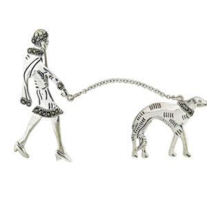 Woman Walking Dog Brooch MJ22312