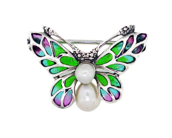 Pearl & Enamel Butterfly Brooch MJ22319